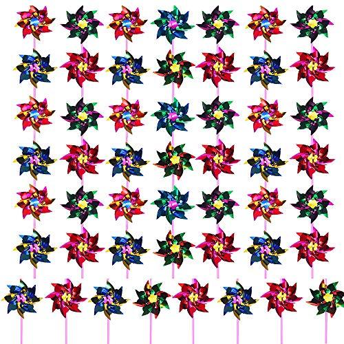 Knowing 50 Stück Regenbogen Windrad aus Kunststoff, Outdoor Spielzeug für Kinder, Ornament Windrad Spinner, Kindergeburtstagsparty, Gefälligkeiten Danke Geschenk, Party Tasche Füller