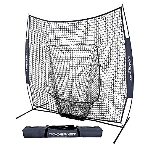 PowerNet Team Color Baseball Softball 7x7 Hitting Net w/Bow...
