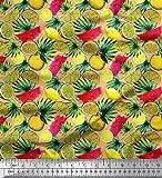 Soimoi Orange Seide Stoff Blätter, Zitrone in Scheiben