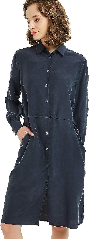 NEW DANCE Women's 100% latest Silk Dress V-Neck Button Sleeve Max 53% OFF Down Long