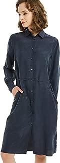 NEW DANCE Women's Silk Shirt Dress Long Sleeve Button Down Drawstring with Pocket Tunic Casual Shirt