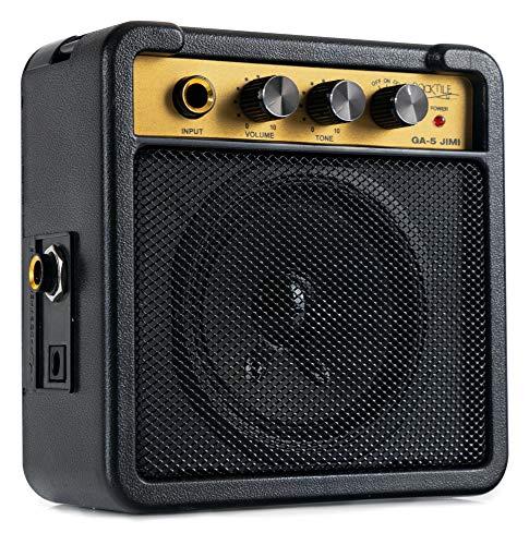 Rocktile GA-5 Jimi Mini-Gitarrenverstärker (5 Watt Batterieverstärker, mit Umhängegurt und Gürtelclip, Betrieb mit Batterie oder Netzteil möglich) schwarz