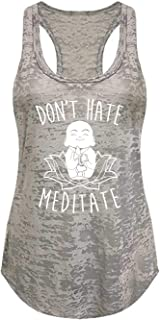 Tough Cookie's Women's Don't Hate Meditate Yoga Workout Burnout Tank Top