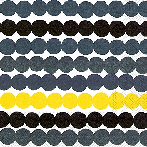 Ideal Home Range Marimekko 20 Count 3 Ply Rasymatto Paper Lunch Napkins, Yellow