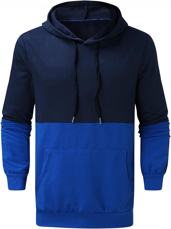 Hoodies for Men Autumn Slim Casual Patchwork Hooded Long Sleeve Sweatshirts Top Men's Fashion Hoodies Sweatshirts Blouse