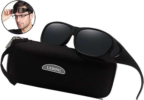 LEDING Wear Over sunglasses for men women Polarized lens (B1lack)