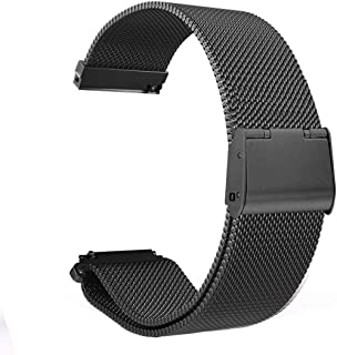 GOSETH Compatible with Pebble time Band 22mm Stainless Steel Replacement Accessories for Pebble Time/Steel/Gear S3 Frontier/TicWatch Pro(Black)