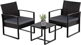 Yaheetech Polyrotan zitgroep tuinset 3-delig balkonset rotanlook loungeset voor tuin & terras, incl. zitkussen & glasplaat