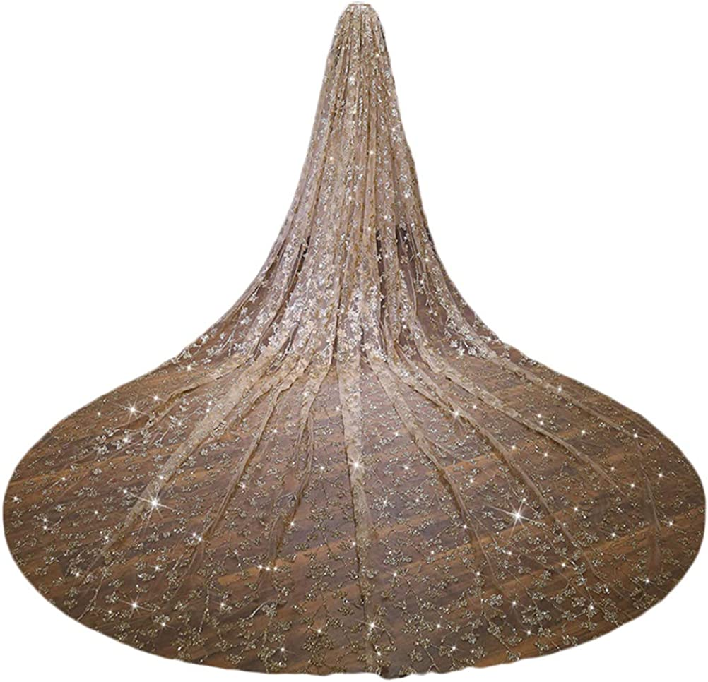 Cathedal Wedding Veils Champagne Sequins Veil Bling Bling with Metal Comb