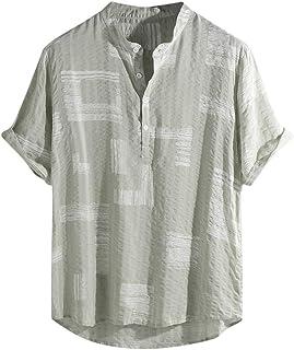 ABCOnline Mens Short Sleeve Henley Shirt Cotton Linen Beach Yoga Loose Fit Henleys Tops Summer Casual Cool T-Shirt Tees