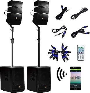 AKUSTIK 12 Inch 4000Watt Powered PA Speaker System Combo Set, DJ Array Speaker Set with..