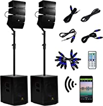 AKUSTIK 12 Inch 4000Watt Powered PA Speaker System Combo Set, DJ Array Speaker Set with Remote Control, Two Subwoofers & 8...