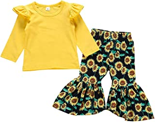 Baby Outfits Neutral,Toddler Baby Girls Solid Ruched Tops Sunflowers Pants Trousers Set Outfits,Boys Clothes Outfits