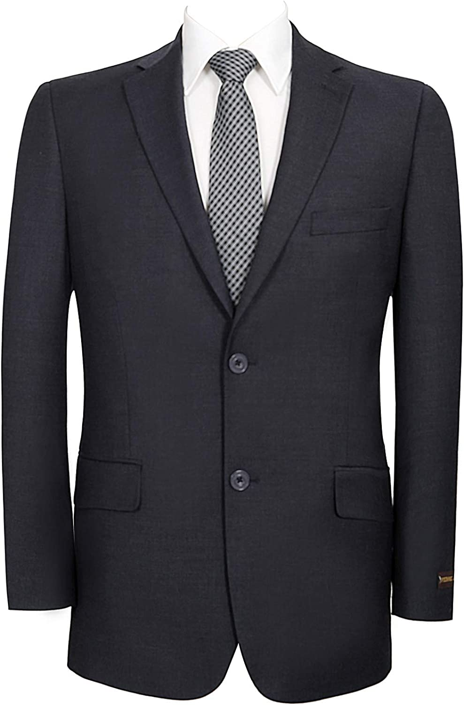 QSYJ Men's Premium Wool Blend Business Blazer Suit Jacket Dark Blue