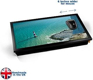 KICO Dwarfed Lighthouse Coast Sea Seaside Cliff Cushioned Bean Bag Laptop Lap Tray Desk - Built-in EMF Shield (Electro Magnetic Field) - Black Frame