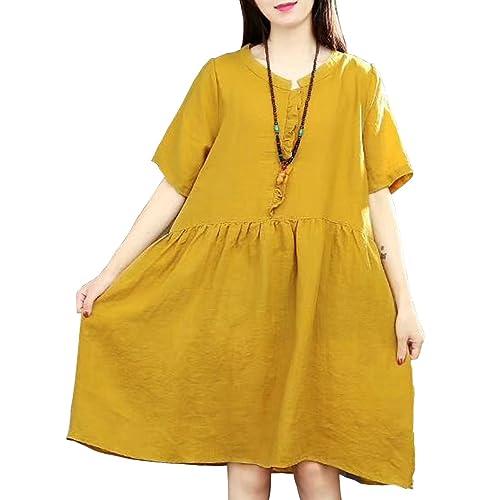 ef802f21cbc YESNO E75 Women Long Maxi Baggy Dress Casual Plus Size Lagenlook  Pop Art   Oil