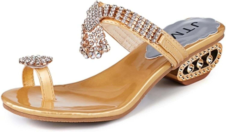 GIY Womens Fashion Rhinestone Wedges Platform Sandals Slide Anti-Slip Thong Sparkly Summer Flip Flops Sandals