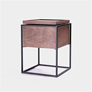 File cabinets Nightstand Bedside table Dressing Table Simple Iron Art Apartment Corner Sofa Side table (Color : Brown, Siz...