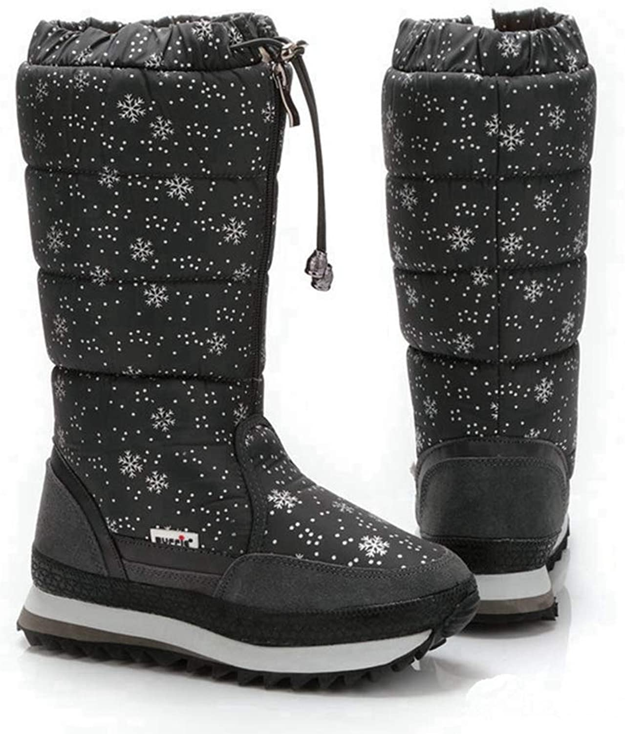 T-JULY Women Snow Boots Print Snowflake Mid-Calf Waterproof Warm Winter shoes Fur Boots