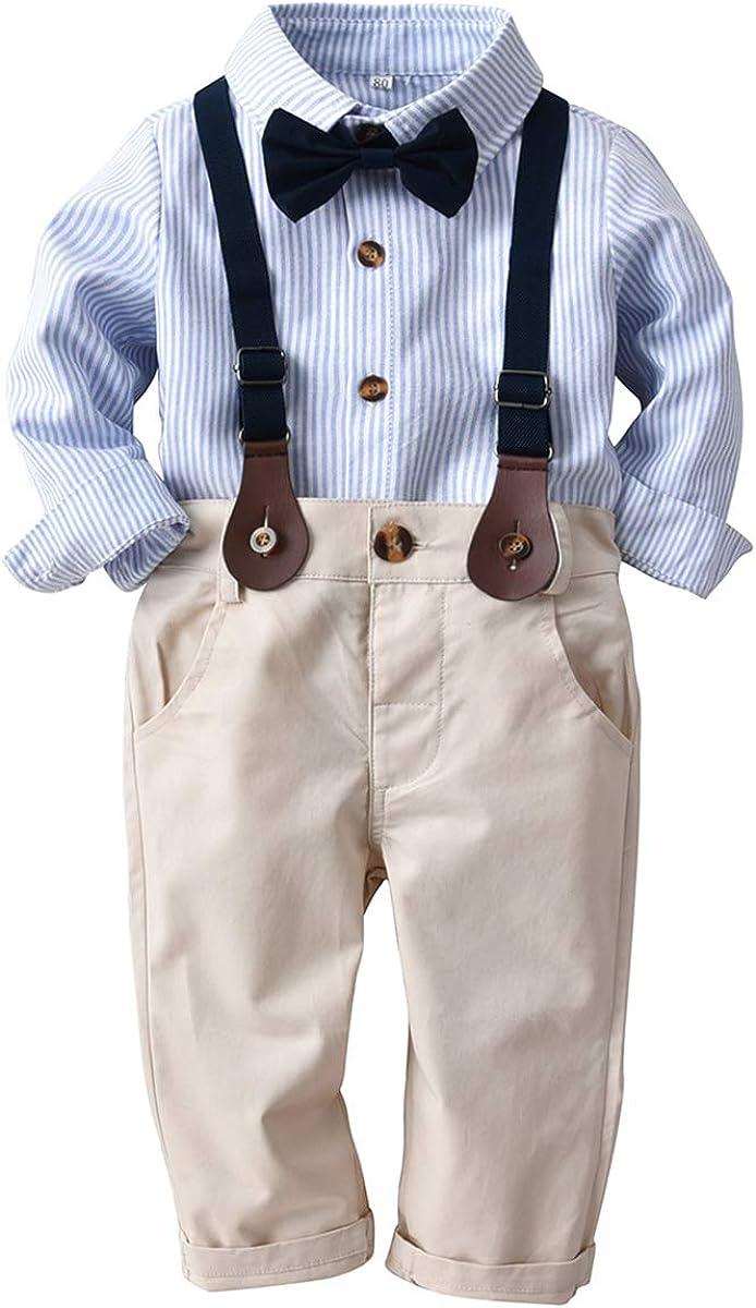 Toddler Kids Boys Gentlemen Suit Stripe Bow Tie Sleeve Shir Quality inspection Our shop most popular Long