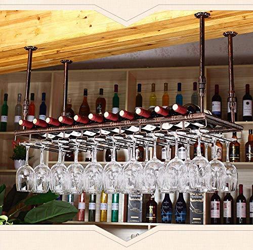 GAXQFEI Cocina Copa de Vino Alenamiento Muro Muro Muro Cuelga Montado Vino Champagne Copos de Vidrio Stemware Holder Holder Bar Vino Rack Vintage Colgante Pantalla Estante-Negro-100 * 35 cm Fácil de