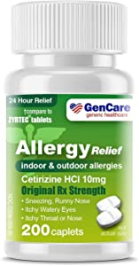GenCare - Cetirizine HCL 10 mg (200 Count)   24 Hour Allergy Relief Pills   Best Value Generic OTC Allergy Medication   Antihistamine for Sneezing, Runny Nose & Itchy Eyes   Generic Zyrtec