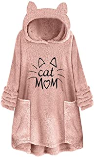 Winter Warm Comfy Women Fleece Embroidery Cat Ear Hoodie Plus Size Pocket Top Sweater Blouse