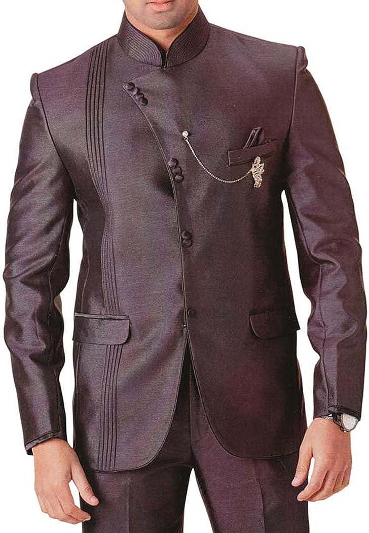 INMONARCH Mens Brown 4 pc Tuxedo Suit Angrakha Pattern TX755