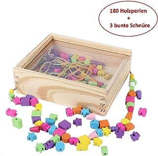 B&JulianEnhebrado de Joyas de Madera con 180 Cuentas 4 Cintas de Colores en Caja de Madera