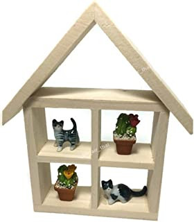 2 Clay Flower 2 Cute Cat Litter Miniatures Cat House Cats Figurines set Kitty Cats Ceramic Cat Collection Painted Cat Dollhouse Garden Cat Toy Decorate