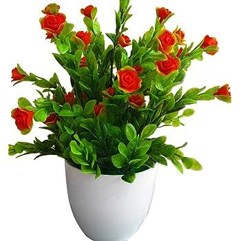 pushfocourag Plantas Artificiales, 1 Planta de Flores Artificiales, bonsái, Etapa de jardín, Boda, decoración del hogar, Fiestas, Naranja, Talla única: Amazon.es: Hogar