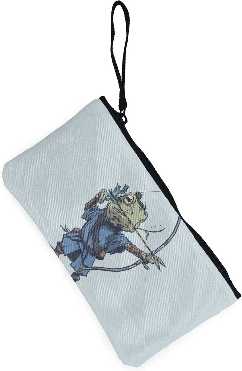 AORRUAM Samurai Frog archery Canvas Coin Purse,Canvas Zipper Pencil Cases,Canvas Change Purse Pouch Mini Wallet Coin Bag