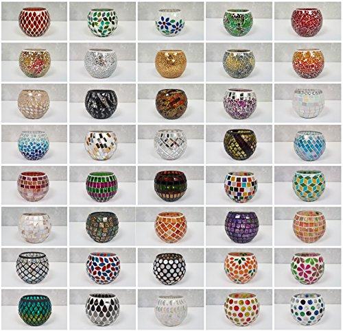 dasmöbelwerk Mosaikglas Windlicht Teelichthalter Teelicht Kerzenhalter bunt Glas Mosaik Deko Accessoires Kugel Geschenkidee Weihnachten 40 Motive und Farben (35)