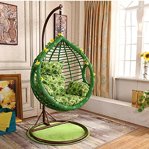 SQINAA Hanging egg hammock chair cushions without stand,Swing seat cushion thick nest hanging chair back with two cushions-D