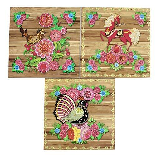 3 Pinturas PC Flor Cock Horse Azulejos Decoración de pared Sticker Papel duro