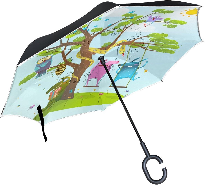 Mydaily Double Layer Ingreened Umbrella Cars Reverse Umbrella Cute Animals Tree Cartoon Windproof UV Proof Travel Outdoor Umbrella