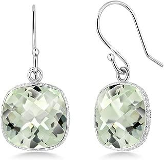 Gem Stone King 925 Sterling Silver Green Prasiolite Cushion Checkerboard Women's Dangle Earrings, 12.00 Cttw