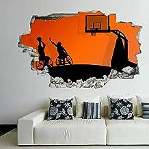 Tatuaje de pared en 291D Jugar silueta de baloncesto agujero de la pared Sticker Pegatina Adhesivo Calcomanía Decoración p...