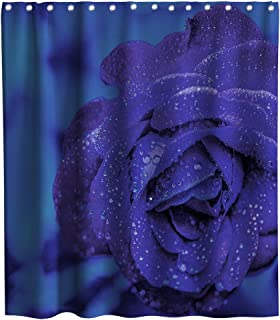 Kntiline Romantic Rose Flowers Blue Enchantress Theme Fabric Floral Shower Curtain Sets Kids Bathroom Flower Decor with Hooks Waterproof Washable 70 x 70 inches