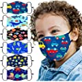 6PCS Children's Dustproof Windproof ???????????????? ???????????????????????? Breathable Reusable Printed Face Visors with Adjustable Earloops,Safety Cotton Fabric Protective Face_Masks for Kids Outdoor Students School