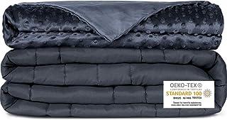 Newentor Gewichtsdecke mit Abnehmenbarem Bezug Therapiedecke für Erwachsene Schwere Decke für Stressabbau Beschwerte Decke gegen Angst Schlafstörung, Grau 152 x 203cm 11.3kg