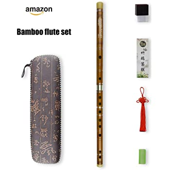G Key Dizi Bitter Bamboo Flute for Beginners with Free Membrane & Glue & Protector Set Traditional Chinese Instrument(Key of G/Bitter Bamboo)