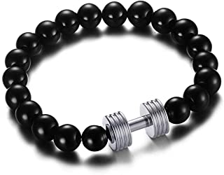 Stainless Steel Dumbbell Bracelet with Black Agate Beads Chain