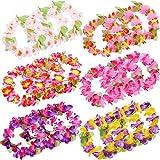 Blulu 30 Piezas de Diadema Hawaiana Tropical Colorida Elástica Adornos de Cabeza de Flores para Materiales de Fiesta Luau, Decoraciones de Fiesta de Playa