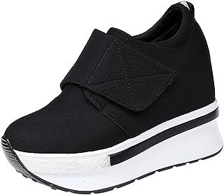 wealsex Ragazze Donna Moda Velcro Scarpe di Tela Nascondere Cunei Scarpe Casual Alte Sneakers