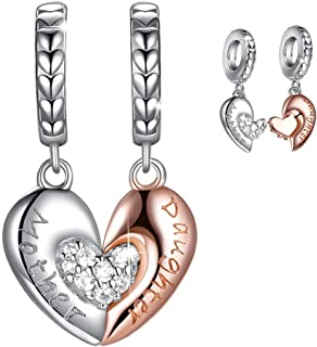 FOREVER QUEEN Mom Mother Daughter Heart Love Charms Dangle Charm Bead Set Fit Pandora Bracelet for European Snake Chain 925 Sterling Silver Pendant for Necklace