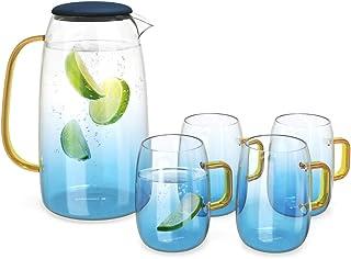 Navaris Set de Jarra de Cristal y 4 Vasos a Juego - Botella de Vidrio de 1550ML con Tapa - 4 Vasos de 300ML incluidos - Estilo Moderno para Bebidas