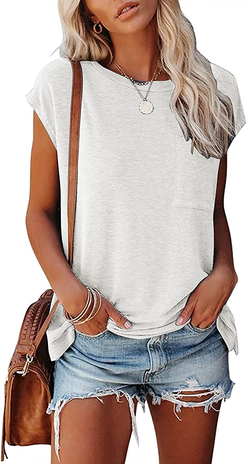 Jollycode Womens Casual Cap Sleeve Tops Summer Shirts Loose T-Shirts Solid Color Blouse with Pocket