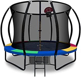 Trampoline 10ft 12ft Kids Indoor Outdoor Exercise Trampolines with Enclosure Basketball Hoop Everfit