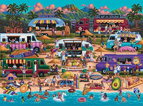 Buffalo Games - Pun Fuzzles - Hawaiian Food Truck Festival - 1000 Piece Jigsaw Puzzle